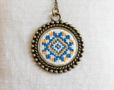 Cross stitch Ethnic necklace  Ukrainian folk embroidery by skrynka, $30.00