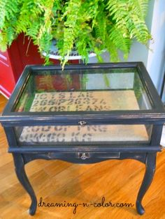 dreamingincolor: Display Case side table and more Shows you how to redo a display case. Love the transformation!