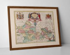 Berkshire Old Map, originally created by Willem Janszoon Blaeu, now available as a 'museum quality' poster print.  #AntiqueBerkshire #Berkshire #Bracknell #homedecor #travelposter #interiordesign #hahnemuhle #Maidenhead #oldmap #Newbury #OldMapGuildford #OldMapReading #Reading #Slough #Thatcham #WindsorCastleMap #Windsor #Wokingham