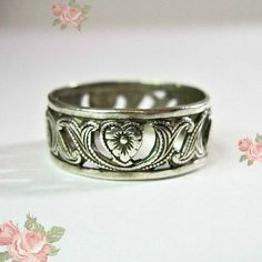 Vintage Art Deco Wedding Band Ring  Sterling from WickedDarling