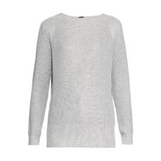 Adam Lippes Ribbed-knit cotton and cashmere-blend sweater ($890) ❤ liked on Polyvore featuring tops, sweaters, light grey, cashmere blend sweater, light grey sweater and adam