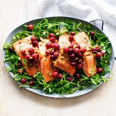 Salmon with Roasted Grapes and Arugula Salad   MyRecipes.com In this healthy weeknight dinner, thyme and arugula keep the sweetness of the grapes in balance. Nearly all the cooking is done on a single baking sheet.