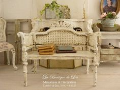 Shabby French loveseat, White distressed, Caning imitation - French dollhouse furniture in 1:12 th scale by AtelierdeLea on Etsy