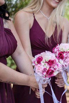 Pink hydrangea silk wedding bouquets for bridesmaids | TheBridesBouquet  #bouquets #weddingbouquets #weddingflowers #weddinginspiration #weddingbrides