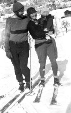 Hemingway, Hadley and Bumby in the French Alps in 1920s.