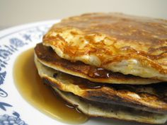 I found this recipe on totalhealthandfitness.biz These pancakes are moist on the inside and, in my opinion, taste pretty dang good! You can be creative and add vanilla, cinnamon, blueberries, wheat germ...whatever. My daughter loves these pancakes with 100% pure maple syrup. Tips: Do realize these pancakes take a little more time to cook than regular pancakes made with flour and leavening agents. Do not cook on higher heat than medium or they will be too brown.