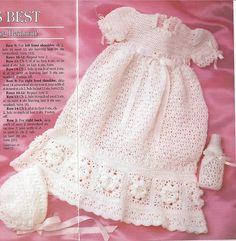 Crochet Pattern Infant/Baby Beautiful Long Christening Baptism Dress sz 0-3mths