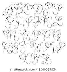 Hand drawn alphabet - calligraphy letters with heart curls - type . - Hand drawn alphabet – calligraphy letters with heart curls – typography and hand lettering - Tattoo Lettering Fonts, Hand Lettering Alphabet, Calligraphy Letters Alphabet, Doodle Lettering, Typography Letters, Doodle Fonts, Bullet Journal Fonts Hand Lettering, Tatto Letters, Bullet Journal Ideas Handwriting