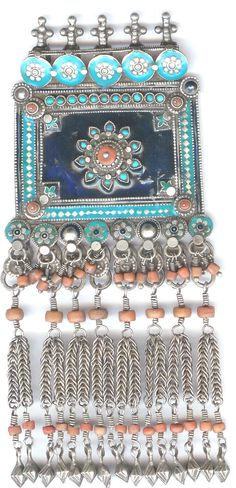 Enameling on silver , turquoise and coral inlay Uzbekistan ealry 20th c   Archives sold Singkiang