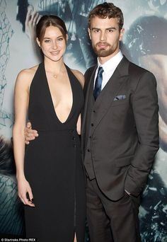 On-screen couple: Shailene, who plays Tris, posed with her love interest in the movie Theo...