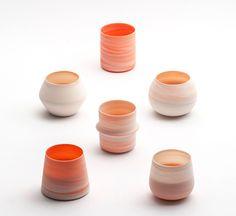 "Inhwa Lee ""Shadowed Color - Cups"" Porcelain, Pigment, Marbling, Wheel throwing, 1280℃ Oxidation Firing, Polishing"