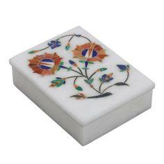 Stoneware Box with Lid Indian Art Inlay Floral Arrangement Handmade by Artisan by ShalinIndia, http://www.amazon.com/dp/B009OY71YQ/ref=cm_sw_r_pi_dp_pHWZqb0NDA19J