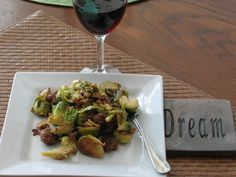 Brussel sprout salad with italian sausage and red wine vinegar Nov 2014