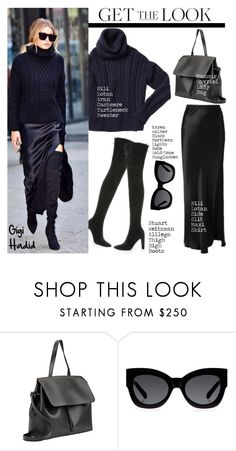 """Get the Look: Gigi Hadid"" by helenevlacho ❤ liked on Polyvore featuring Stuart Weitzman, Nili Lotan, Mansur Gavriel, Karen Walker, GetTheLook, StreetStyle, CelebrityStyle and gigihadid"