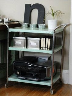 Old retro cart for printer and storage. -- love how they accessorize do this