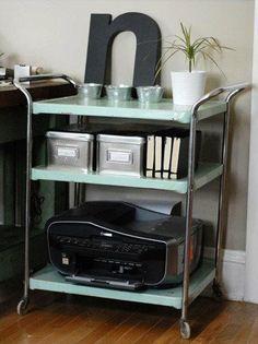 typewriter table turned printer cart printer cart printers and tables - Printer Cart