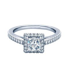 0.92 Ct Princess Cut Halo Diamond Engagement Rings For Her 14Kt Solid White Gold (Color-HI/Clarity-I1)
