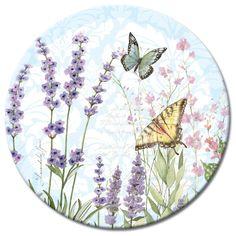 """Herb Garden Glass Lazy Susan 13"""" with Butterflies"""