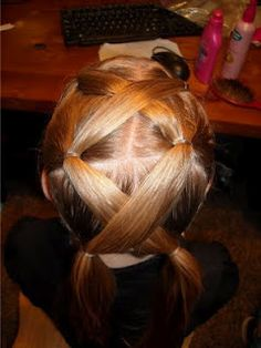 Crossed pig tails. Nice and quick.Chic-Clips Hair: Every day hair
