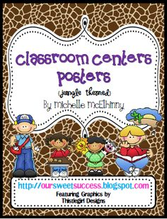 Classroom Centers Posters Jungle/Safari Themed from Our Sweet Success on TeachersNotebook.com -  (45 pages)