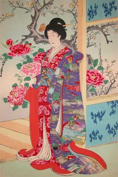 Artist:Chikanobu Title:Winter Flowers