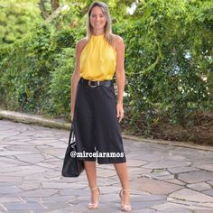 Look de trabalho - look do dia - look corporativo - moda no trabalho - work outfit - office outfit -  spring outfit - look executiva - summer outfit - pantacourt preta - black - yellow