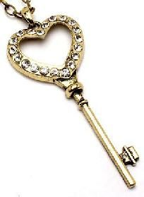 Gold Rhinestone Key Necklace 28in chain *free ship* $6.99