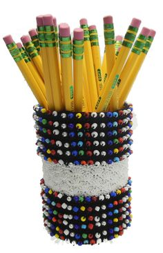 New Free Pattern!  Beads and Shells Pencil Cup Designed by Julie A. Bolduc This pencil cup has 540 beads in it done in 2 sections of 270 beads separated by ...