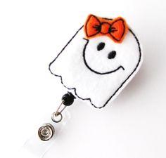 Friendly Ghost - Halloween Badge Holders - Cute Badge Reels - Unique Retractable ID Badge Holder - Felt Badge Reel - RN Badge - BadgeBlooms. $6.00, via Etsy.