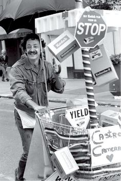"""Harvey Milk With The Castro Camera Cart"", mid-1970's, photograph by Rink Foto."