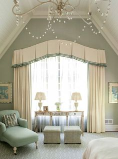 Angled Ceiling but curved drapes.