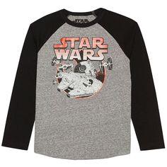 Boys 8-20 Star Wars Millennium Falcon Raglan Tee, Boy's, Size: Medium, Grey (Charcoal)