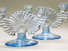 Art Deco 1930s Copen Blue Depression 2-Lite Candle Holder Set (2) Maya Fan Paden City Glass Company by Bon Appétit Antique