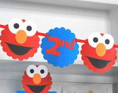 Elmo banner, Elmo Birthday Banner, handmade banner, Happy (1st/2nd) birthday, royal blue and red, die cut Elmo Banner,  A478