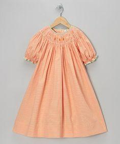 Take a look at this Orange Pumpkin Gingham Bishop Dress - Toddler & Girls by Petit Ami on #zulily today!