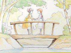 Akage no Anne / Anne of Green Gables Opening Theme - Kikoeru Kashira (Oowada Ritsuko) Pretty Drawings, Kawaii Drawings, Studio Ghibli, Anne Auf Green Gables, Anne With An E, Green Books, Old Anime, Painting Inspiration, Concept Art