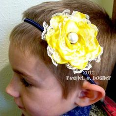 YELLOW Satin Ribbon and Lace Hair Clip