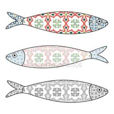Colored sardines with typical Portuguese tiles patterns. Vector illustr Coffee Mug by Traditional Portuguese icon. Colored sardines with typical Portuguese tiles patterns. Fabric Fish, Fish Template, Clay Fish, Fish Stock, Fish Patterns, Portuguese Tiles, Thinking Day, Fish Art, Fabric Dolls
