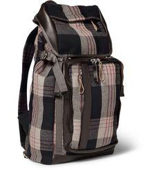 Marni Leather-Trimmed Plaid Flannel Backpack | MR PORTER