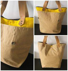 SAM confectionné dans un duo de toile militaire et tissu enduit jaune uni www.defilenlilly.com Tote Bag, Bags, Fashion, Military Personnel, Yellow, Toile, Purses, Fashion Styles, Tote Bags