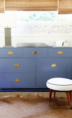 Beautiful blue campaign dresser/changing table! #projectnursery #campaigndresser