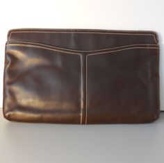 Vintage Large Morris Moskowitz Dark Brown Leather Handbag Purse Clutch from Not Just MUSI Bows on RubyLane #RubyLane