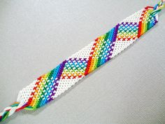 White and Rainbow Plaid Friendship Bracelet – Woven Friendship Bracelet – Adjustable Bracelet or Anklet – Bracelet for Teens – LGBTQIA Pride Bracelet Knots, Bracelet Crafts, Anklet Bracelet, Macrame Bracelets, Bracelet Making, Knotted Bracelet, Anklets, String Bracelets, Friendship Bracelets Tutorial