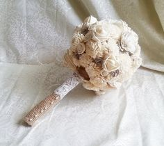 BIG cream brown rustic wedding BOUQUET Ivory and brown Flowers, sola roses, Burlap Handle, custom - pinned by pin4etsy.com