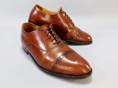 G. H. Bass & Co. Cap Toe Brown Dress Leather Oxfords Model No. 0043 Sz. 8.5M #GHBassCo #Oxfords