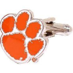 College Jewelry Clemson University Tigers Cufflinks Natural Finish Sterling Silver Round Top Cufflinks