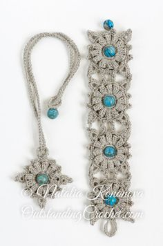 Crochet Boho Wide Beaded Bracelet and Necklace Jewelry Set Pattern - PDF instant download - DIY crochet jewelry - Wrist Cuff - Windrose set