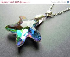 20 OFF EASTER SALE Crystal Starfish Necklace by mizzoktober, $25.60