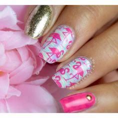 Flamingo nail stamping