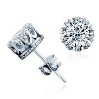 Wish | Fashion Women's Clear 925 Sterling Silver Crown Style Rhinestone Stud Earrings